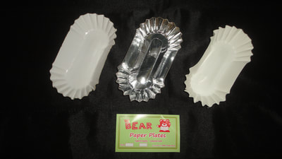 white and silver paper tray or plates for sausages and kikiams