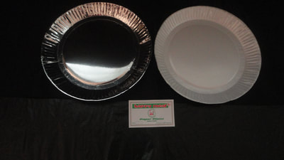 Bear paper plates round and square, silver and white in many sizes